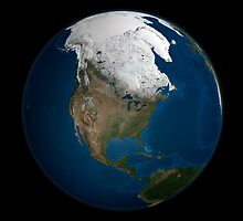 A global view over North America with Arctic sea ice by StocktrekImages