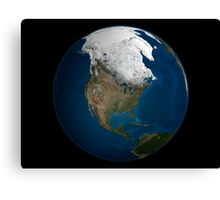 A global view over North America with Arctic sea ice Canvas Print