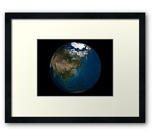 A global view over Asia with Arctic sea ice. Framed Print