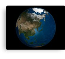 A global view over Asia with Arctic sea ice. Canvas Print