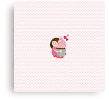 Girl and cupcake Canvas Print
