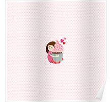 Girl and cupcake Poster