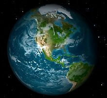 Full Earth view showing North America. by StocktrekImages