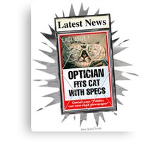 Latest News - Optician Fits Cat With Specs Canvas Print