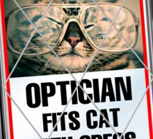 Latest News - Optician Fits Cat With Specs Sticker