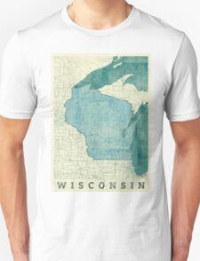 Wisconsin State Map Blue Vintage Unisex T-Shirt