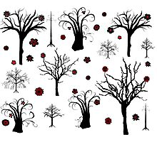 Red and Black Forest Photographic Print