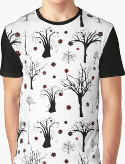 Red and Black Forest Graphic T-Shirt