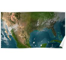 View of Southern United States and Mexico. Poster
