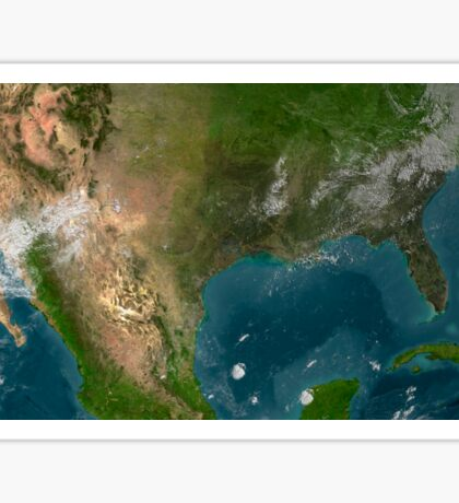 View of Southern United States and Mexico. Sticker