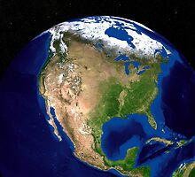 The Blue Marble Next Generation Earth showing North America. by StocktrekImages
