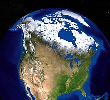 The Blue Marble Next Generation Earth showing the United States, Canada and Greenland. by StocktrekImages