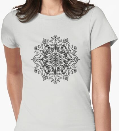 Thrive - Monochrome Mandala Womens Fitted T-Shirt