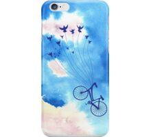 Bike climbing up the clouds iPhone Case/Skin