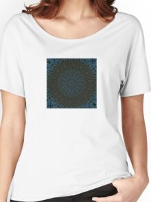 Teal and Brown Feather Abstract Women's Relaxed Fit T-Shirt