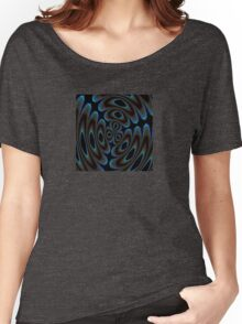 Blue and Brown Contemporary Abstract Women's Relaxed Fit T-Shirt