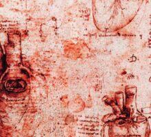 Heart And Its Blood Vessels. Leonardo Da Vinci, Anatomy Drawings Red Sticker