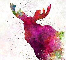 Moose 05 in watercolor by paulrommer