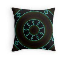 Aztec Style Studio Art In Blue and Brown Throw Pillow
