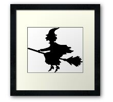 Witch on a Broomstick Framed Print