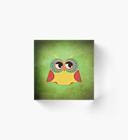 Adorable Red and Yellow Owl | Nursery Decor Acrylic Block