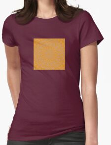 Orange Lace Kaleidoscope Womens Fitted T-Shirt