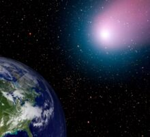 Digital composite of a comet heading towards Earth. Sticker