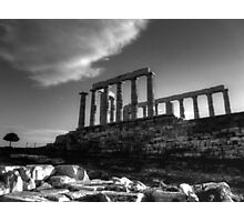 The Temple Of Poseidon in B&W HDR Photographic Print
