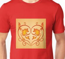 Orange Burning Heart Flower Design Unisex T-Shirt