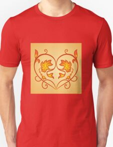 Orange Burning Heart Flower Design T-Shirt