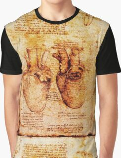 Heart And Its Blood Vessels, Leonardo Da Vinci Anatomy Drawings, Brown Graphic T-Shirt