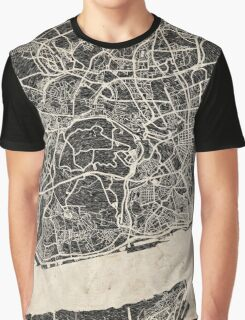 lisbon map ink lines Graphic T-Shirt