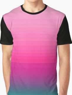 Chic Pink to Teal Color Block Gradient Graphic T-Shirt