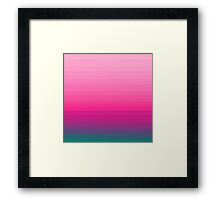 Chic Pink to Teal Color Block Gradient Framed Print