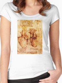 Heart And Its Blood Vessels, Leonardo Da Vinci Anatomy Drawings, Brown Women's Fitted Scoop T-Shirt