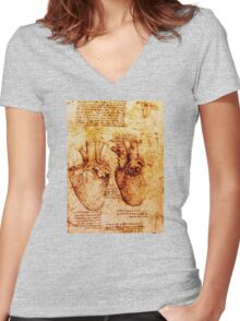 Heart And Its Blood Vessels, Leonardo Da Vinci Anatomy Drawings, Brown Women's Fitted V-Neck T-Shirt