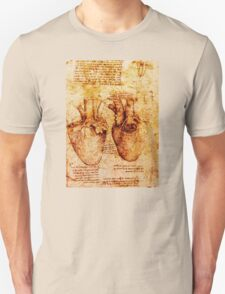 Heart And Its Blood Vessels, Leonardo Da Vinci Anatomy Drawings, Brown Unisex T-Shirt