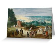 January Bureghel II (-) Stretch riverside with drawing handlers and locking hikers in front of a village Greeting Card