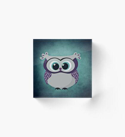 Adorable Purple and Blue Owl | Nursery Decor Acrylic Block