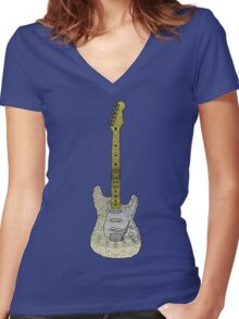 White Strat Women's Fitted V-Neck T-Shirt