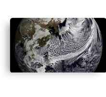 Cloud simulation of a single day centered over the western Pacific. Canvas Print