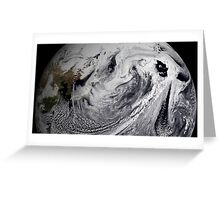 Cloud simulation of a single day centered over the middle Pacific.  Greeting Card