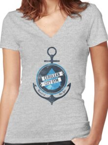 Cerulean City Gym Women's Fitted V-Neck T-Shirt