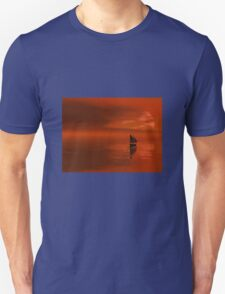 Colorful Orange Sunset Sailboat Silhouette Cruise Unisex T-Shirt