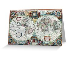 Beautiful Colorful Antique Vintage World Map Greeting Card