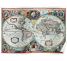 Beautiful Colorful Antique Vintage World Map Poster