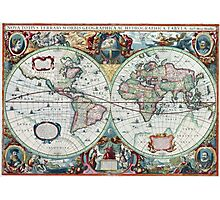 Beautiful Colorful Antique Vintage World Map Photographic Print
