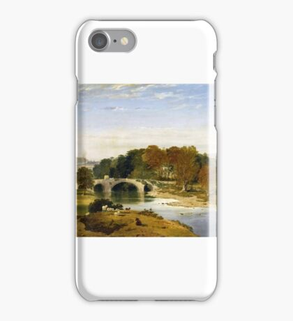 William Linton - Roefield House with Low Moor Mill on the River Ribble with Clitheroe Castle and Pendle Hill in the Distance iPhone Case/Skin