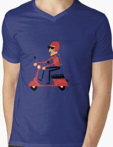 Skater on a scooter Mens V-Neck T-Shirt