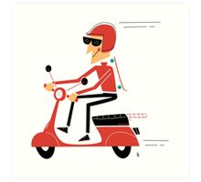 Skater on a scooter Art Print